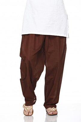 Brown Cotton Plain Salwar Bottom Regular