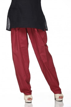 Maroon Plain Cotton Regular Salwar Pant