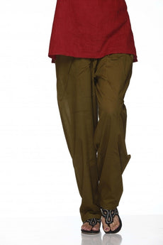 Military Green Plain Cotton Regular Salwar Pant
