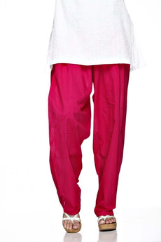 Majanta Pink Plain Cotton Regular Salwar Pant