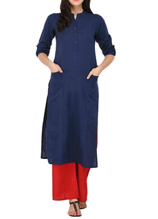 Pure Cotton Plain Kurti Tunic Top 3/4 Sleeves Roll-UP Button Neck with Pocket