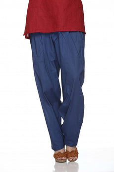 Navy Blue Plain Cotton Regular Salwar Pant