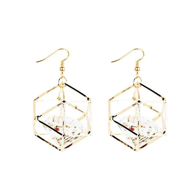 SUSENSTONE Crystal earrings earrings 1 Pair New Fashion Women Dangle Earring Crystal Earrings Eardrop Hoops