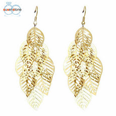 SUSENSTONE Vintage Retro Bohemian Tassel Leaf Earrings