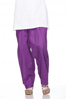 Purple Plain Cotton Regular Salwar Pant
