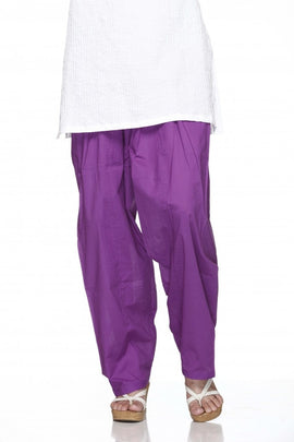 Purple Cotton Plain Salwar Bottom Regular