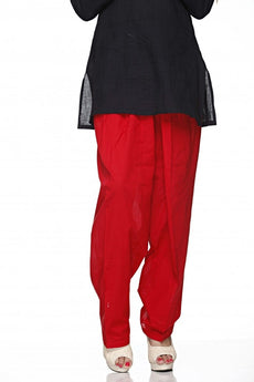 Red Plain Cotton Regular Salwar Pant