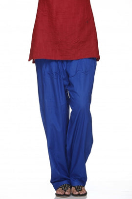 Royal Blue Cotton Plain Salwar Bottom Regular
