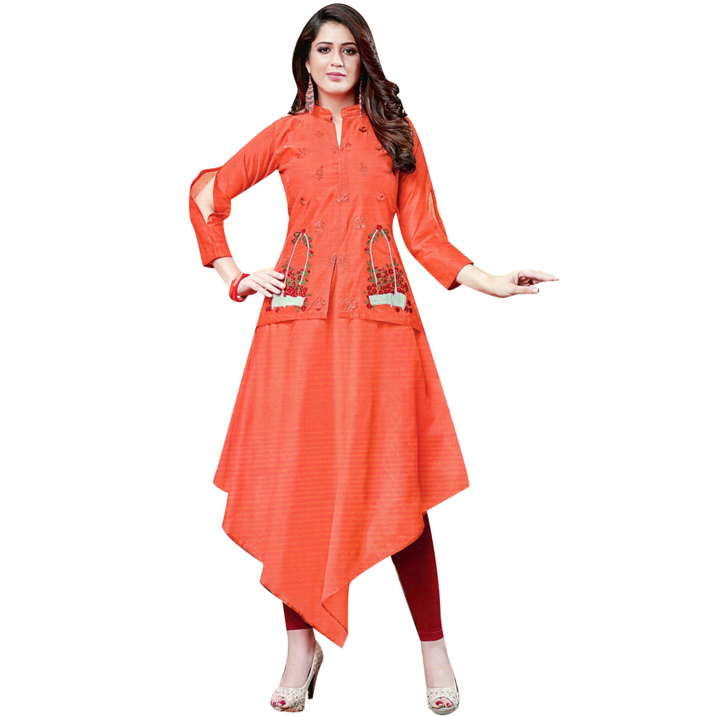 Designer Long Partywear Embroidered Kurti Top / Evening gown Indian