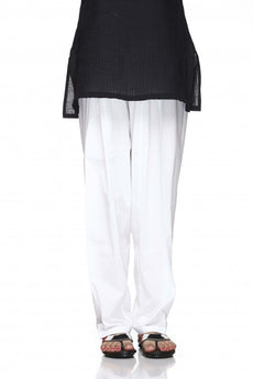 White Plain Cotton Regular Salwar Pant