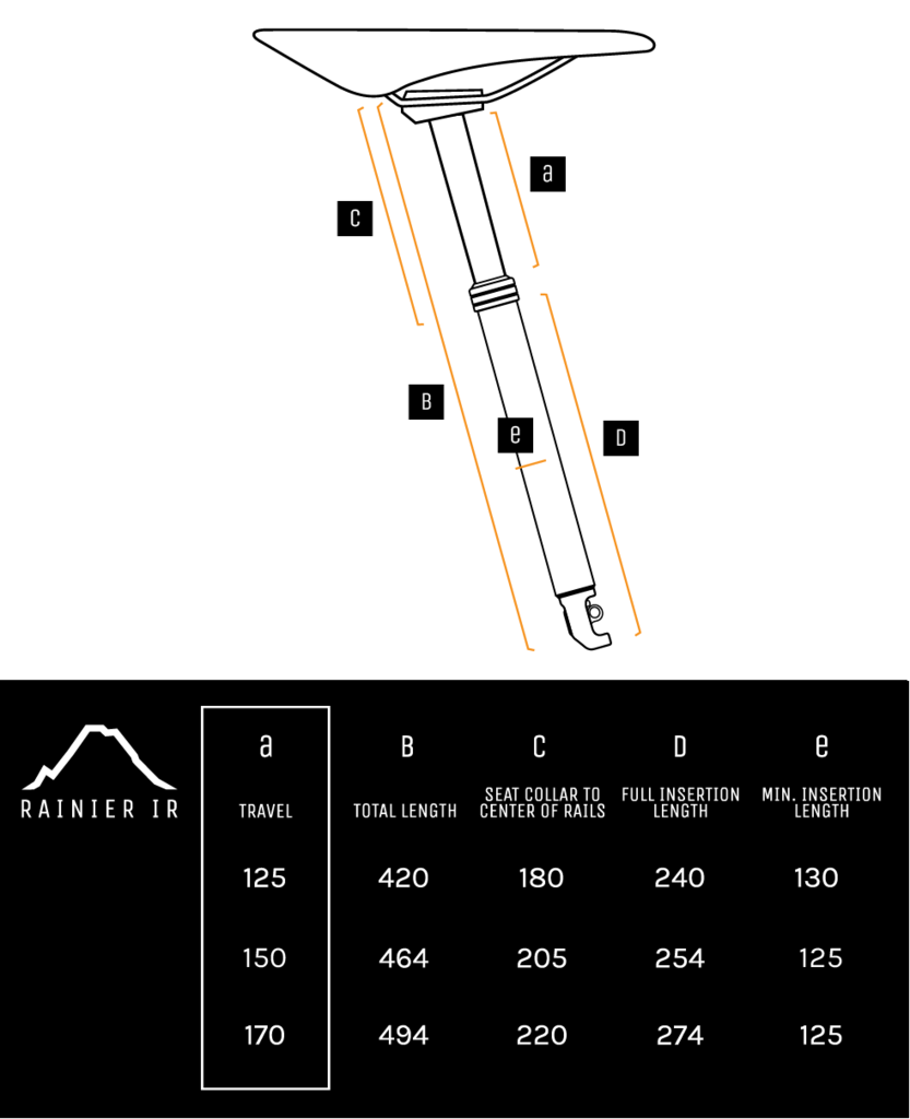 Rainier IR Seatpost Measurements
