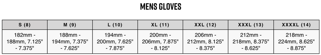 Fox Glove Size Chart