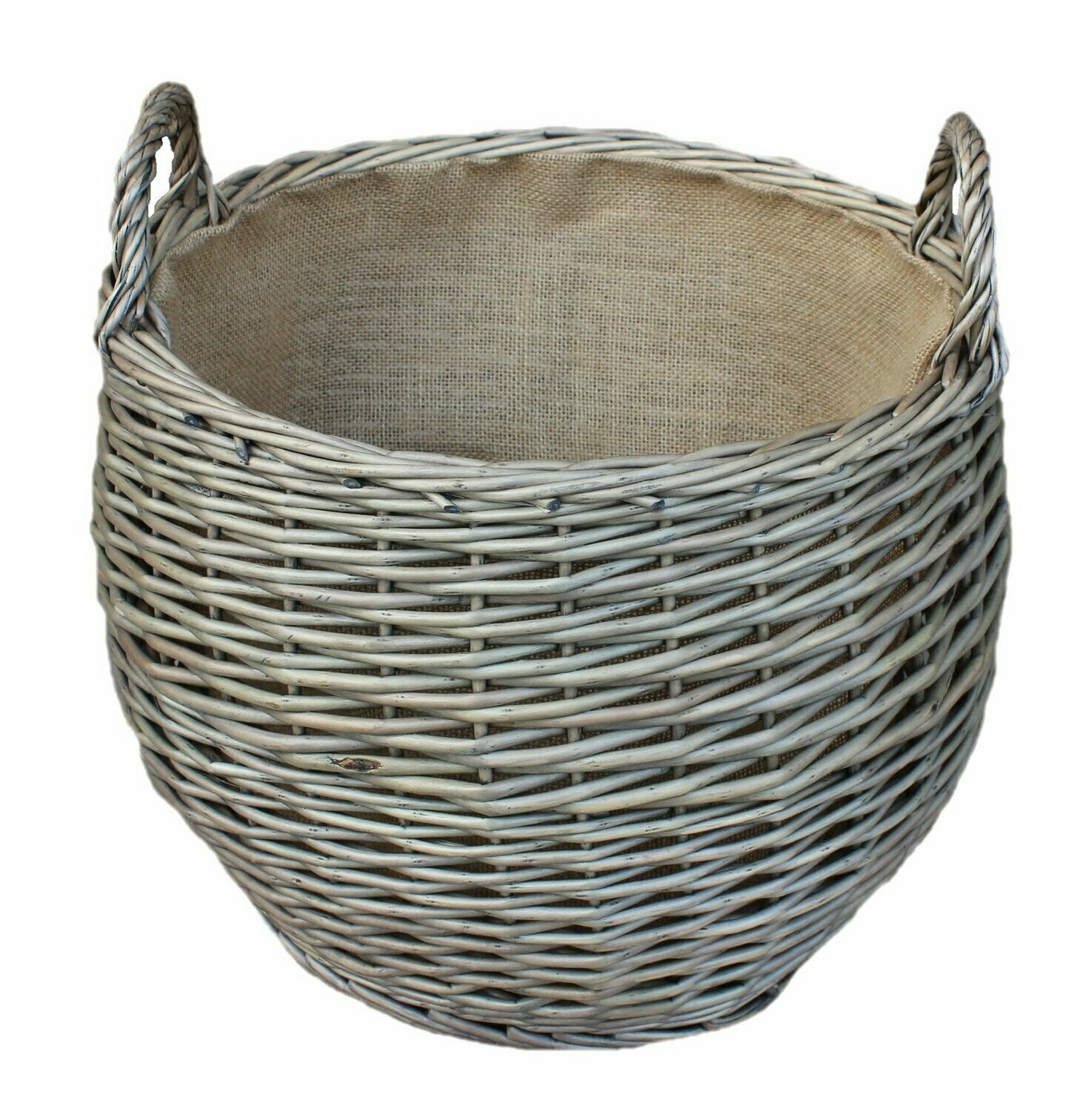 Large lined wicker basket