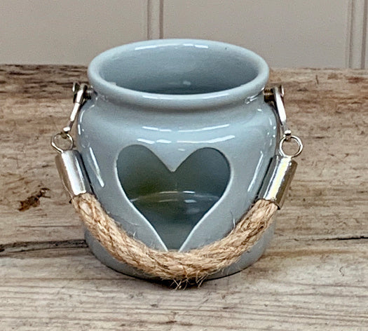 Small heart grey t-light holder
