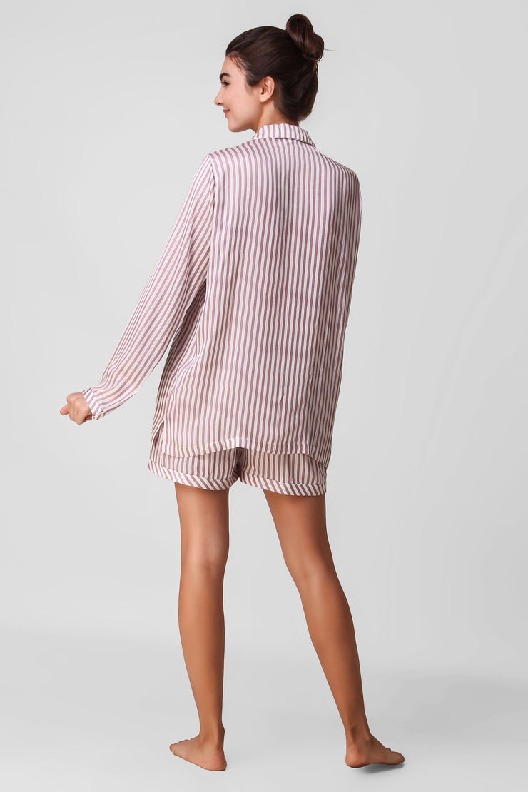 Mauve Stripy Shorts Set