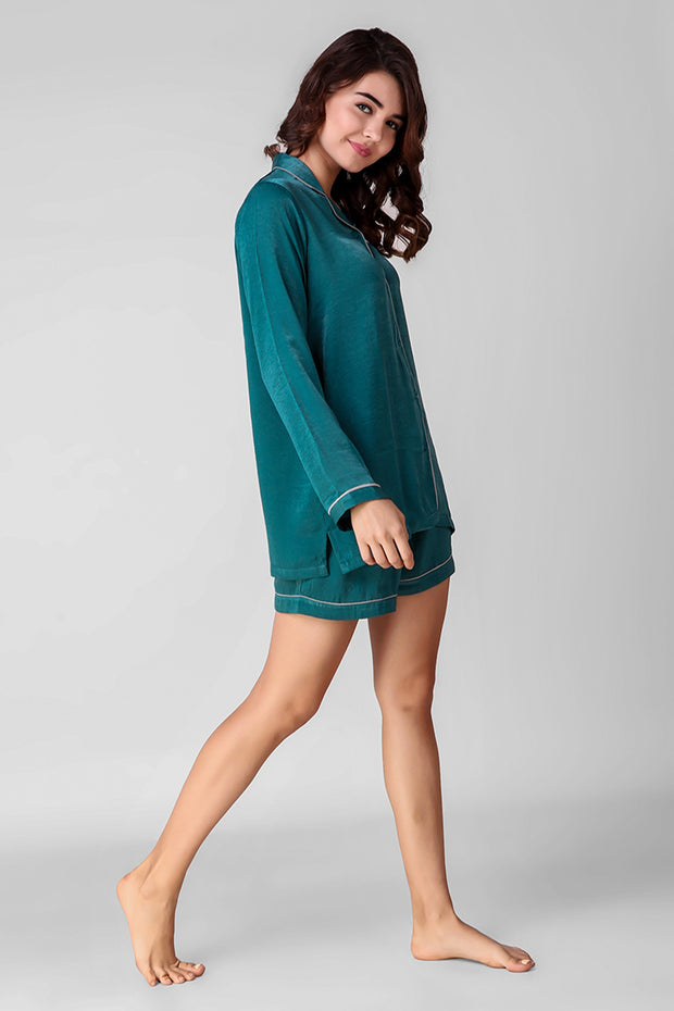 Teal Love Shorts Set