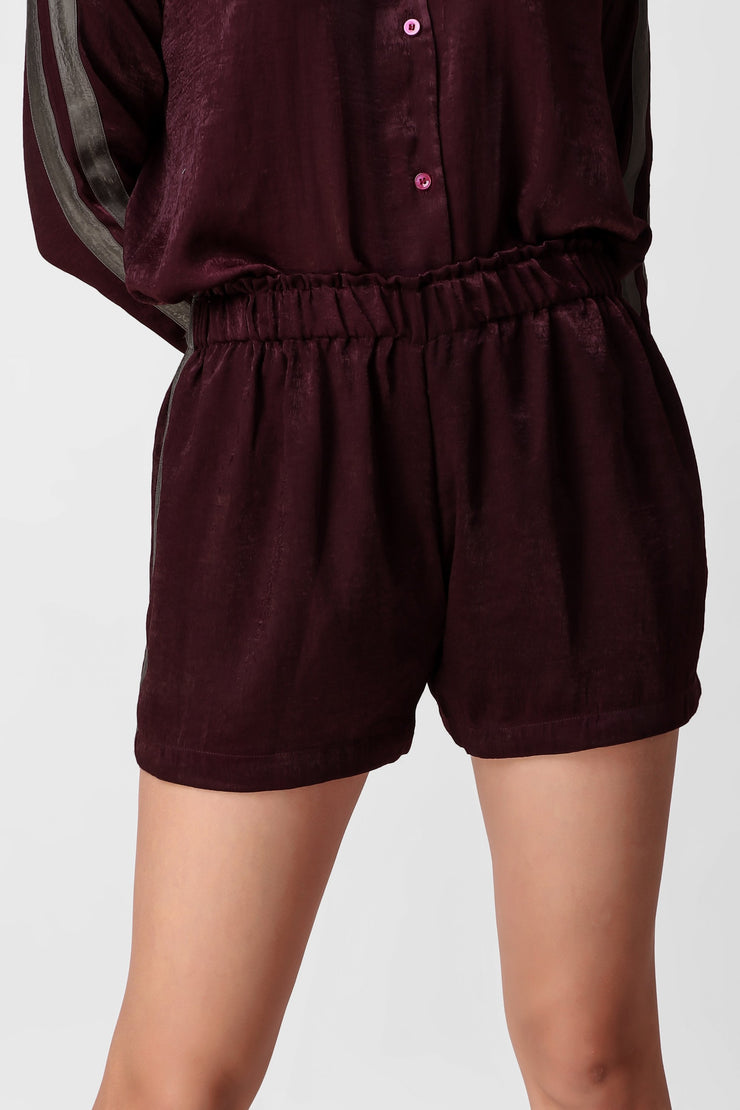 Wine & Stripy Shorts Set