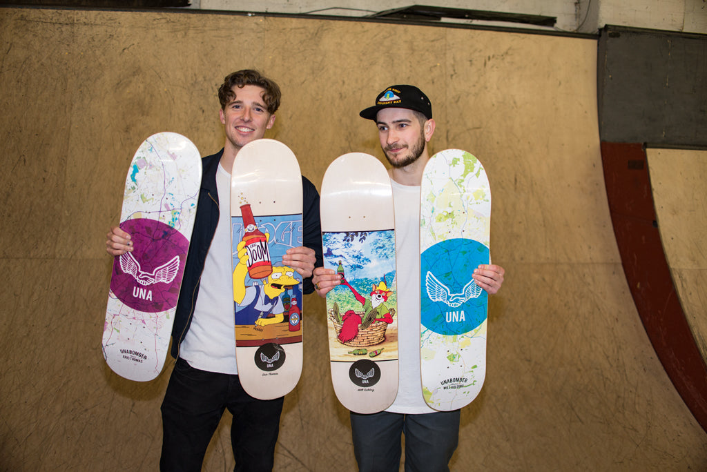 Will Golding and Eric Thomas with their first pro boards.