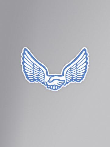 Unabomber 'Wings' Sticker. White/Blue.