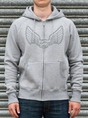 Unabomber 'Wings' Zip Hood. Grey.
