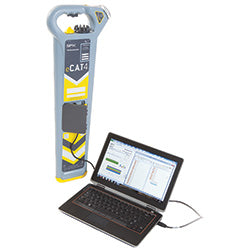 Cable detector being used with laptop computer to store and display records.