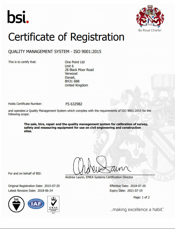 ISO 9001 certificate for One Point Survey