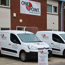 The front of the new One Point Survey premises with a few of the van fleet in front.