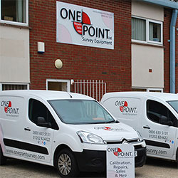 The One Point Survey Equipment fleet of vans covering Berkshire, Cornwall, Devon, Somerset, Dorset, Hampshire, Surrey, Sussex and Wiltshire.