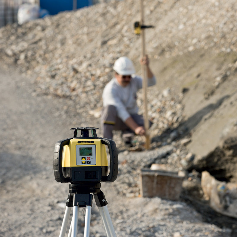 Leica Rugby 620 Laser Level being used on a construction site
