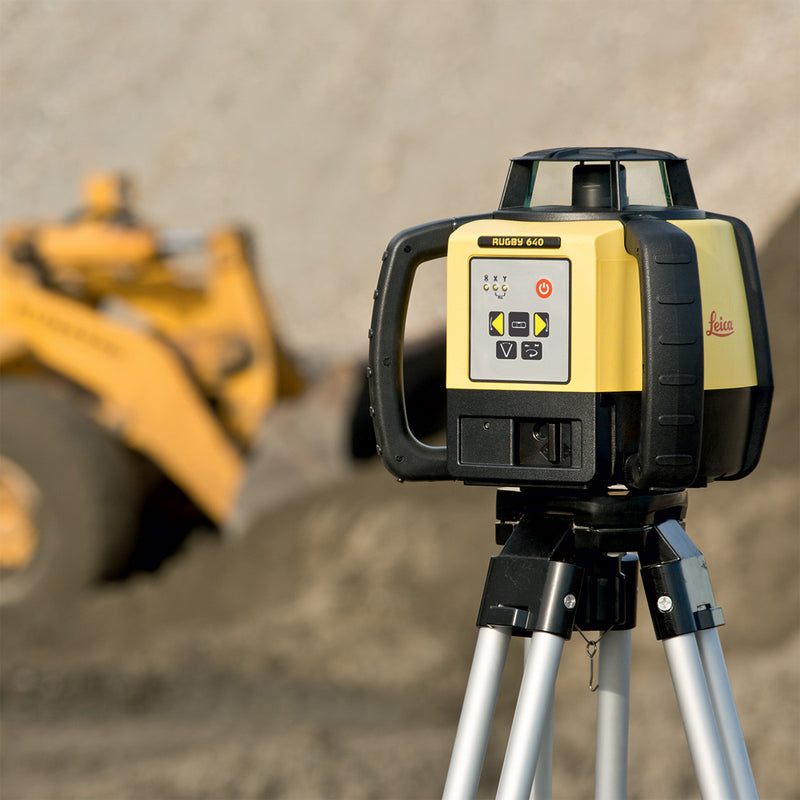 Leica Rugby 640 Laser Level being used on a construction site
