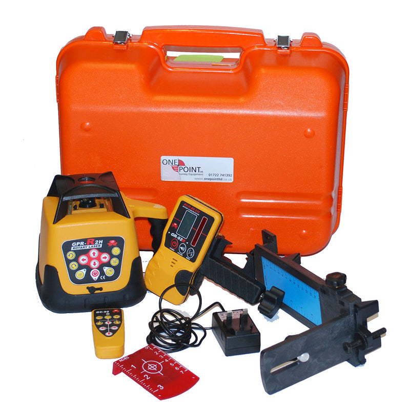 GPR R2H Rotary Laser with carry case, battery, charger, remote, detector/bracket and wallmount.