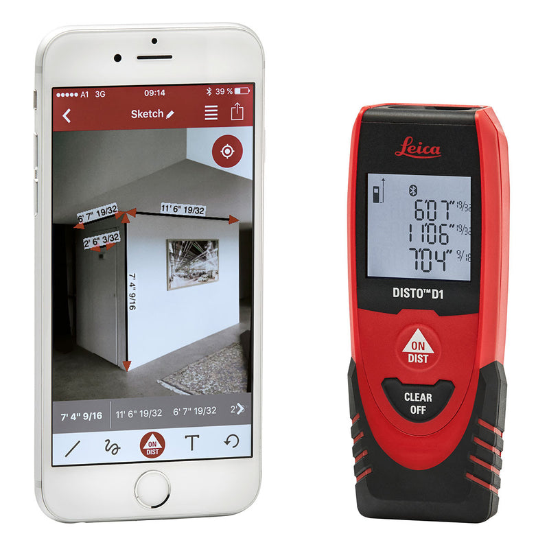 Leica DISTO™ D1 Laser Distance Meter with smart hone