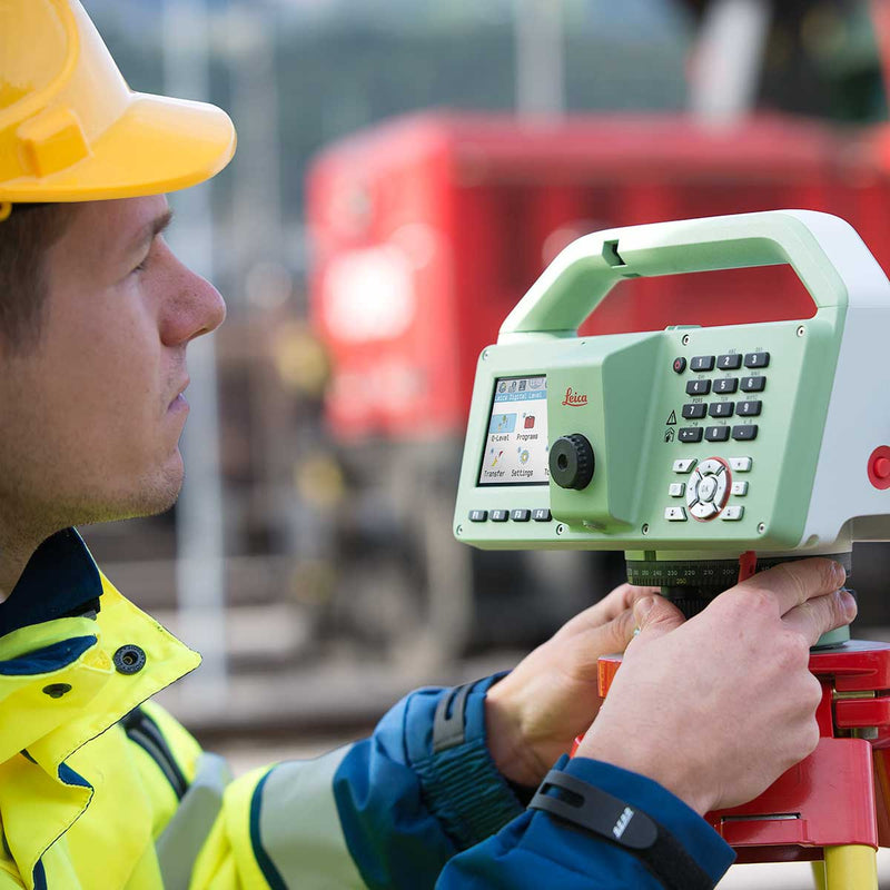 Leica LS10 Digital Level being used on a construction site