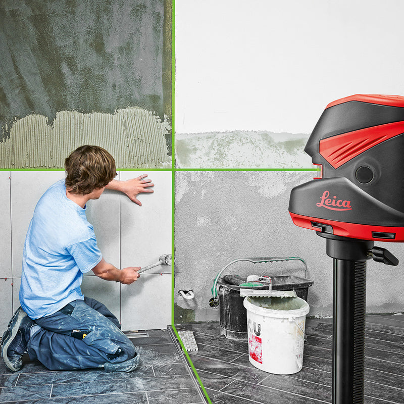 Leica Lino L2G+ Line Laser Level being used to mark vertical and horizontal lines for tiling