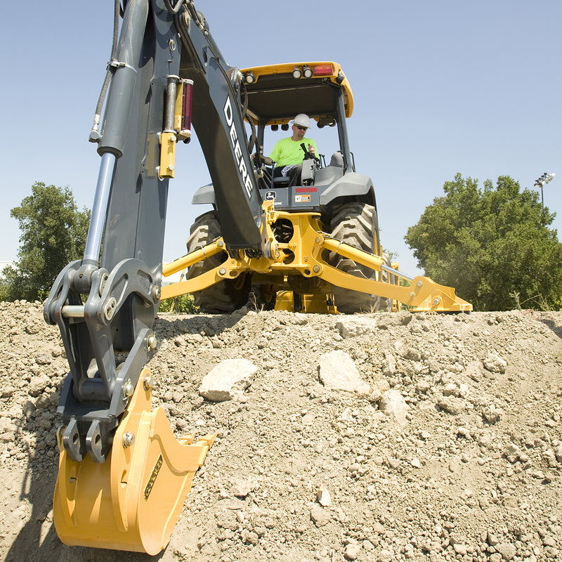 Topcon LS-B100 Laser Receiver being used on a digger