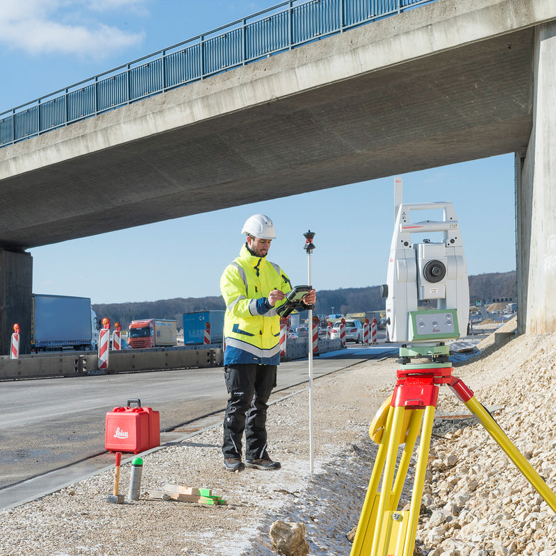 Leica Viva TS13 Total Station being used on a construction site