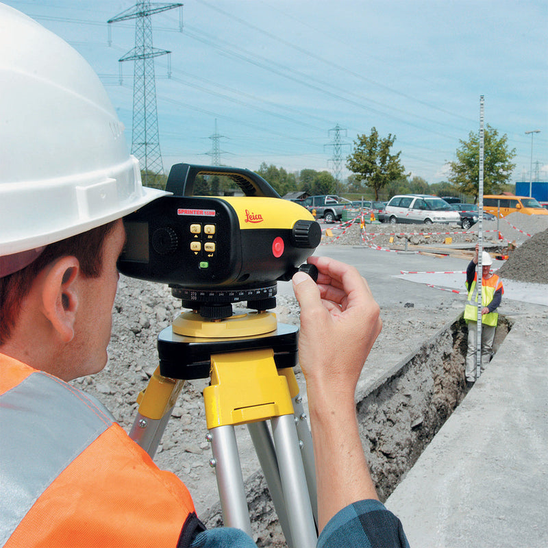 Leica Sprinter 150M Digital Level being used on a construction site