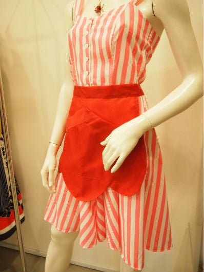 Curvy Cherry Vintage Apron In Red