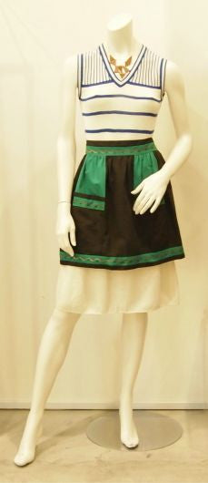 Tribal Cooking Vintage Apron in Black & Green