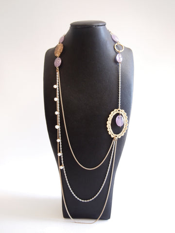 Handmade necklace with purple amethyst & freshwater pearl