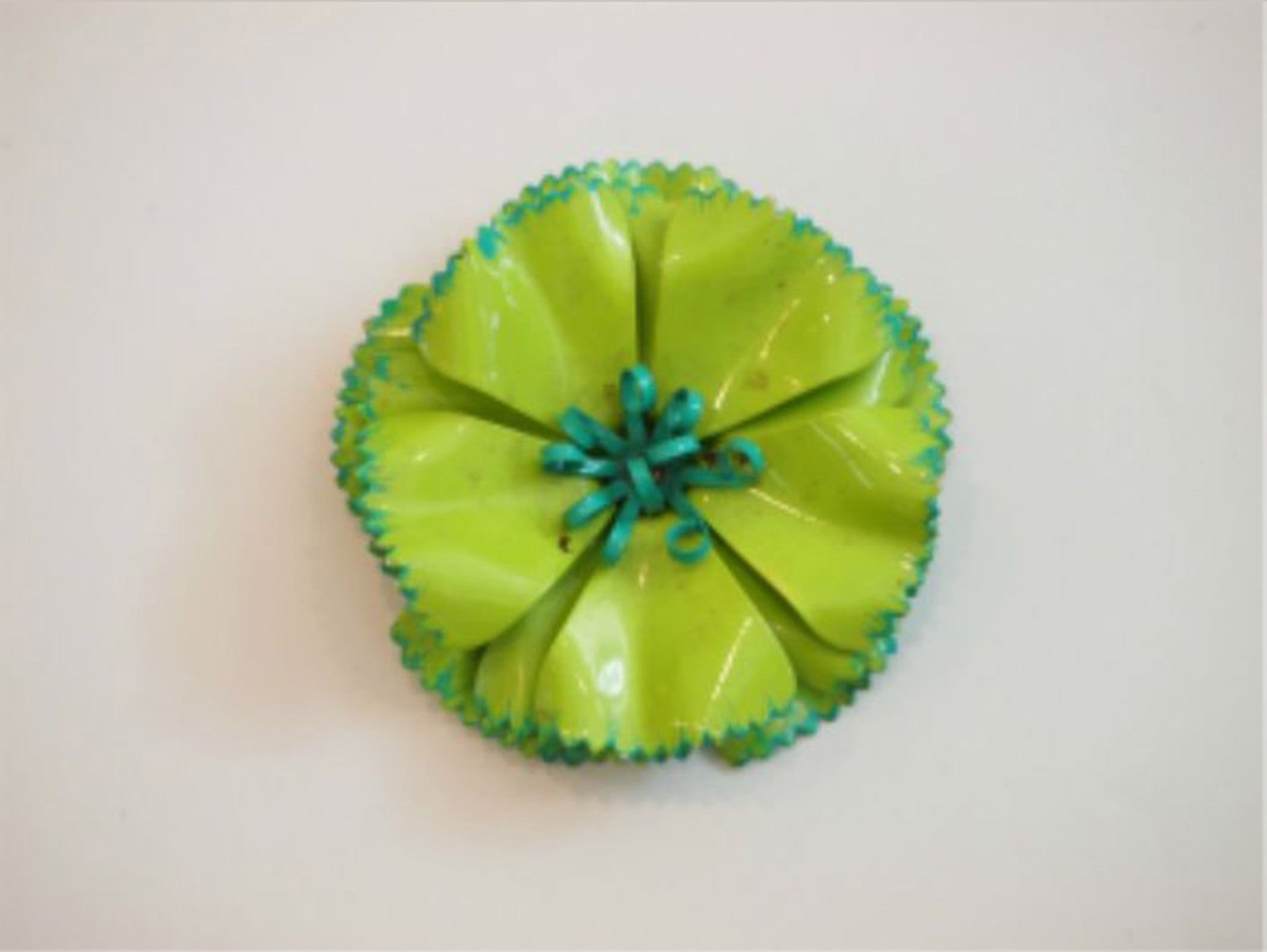 Blooming In Green 60s Flower Brooch