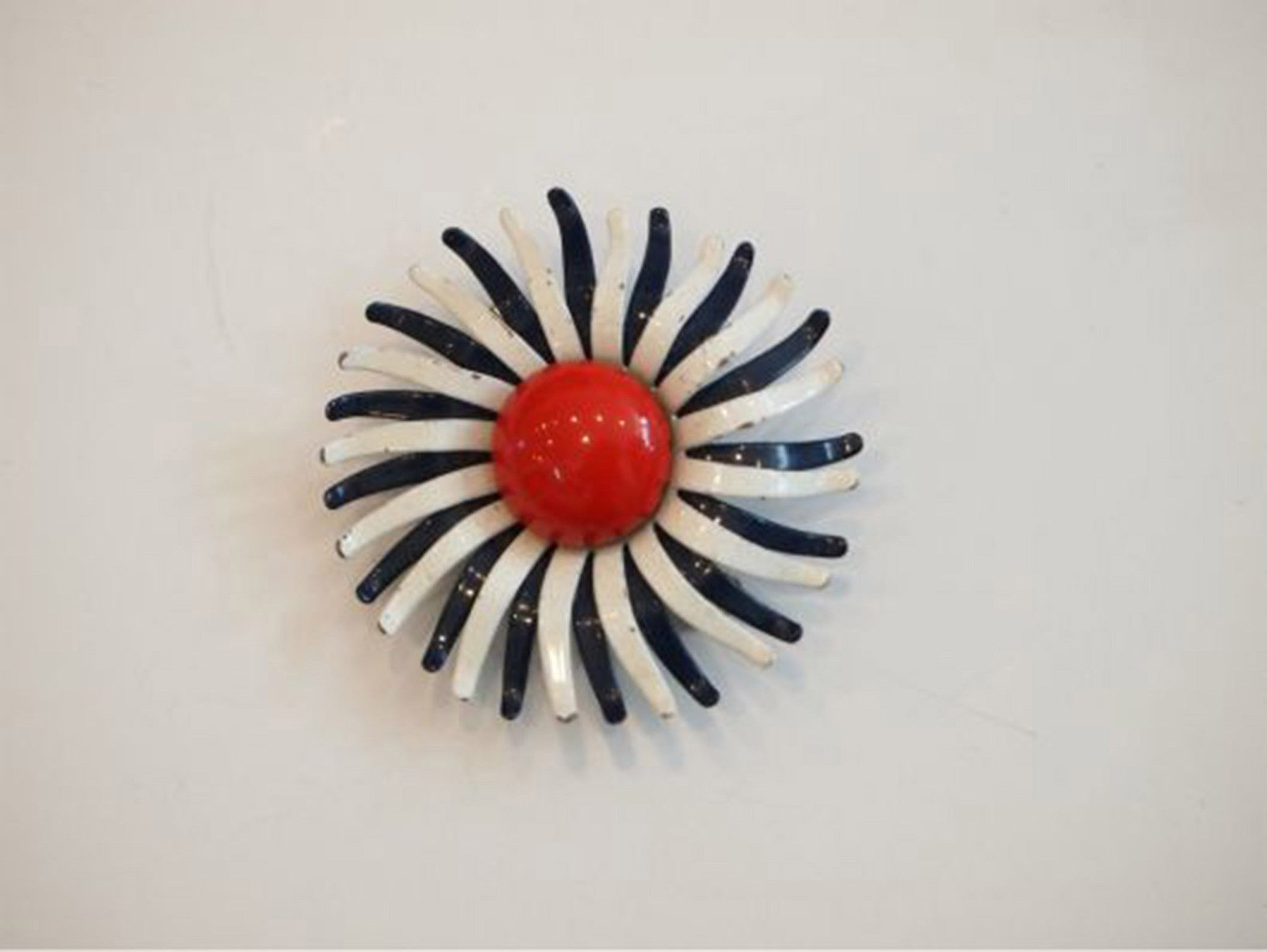 60s Pop Red White Blue Flower Brooch