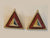 Triangle Tease Statement Vintage Deadstock Stud Earrings In Amber Orange