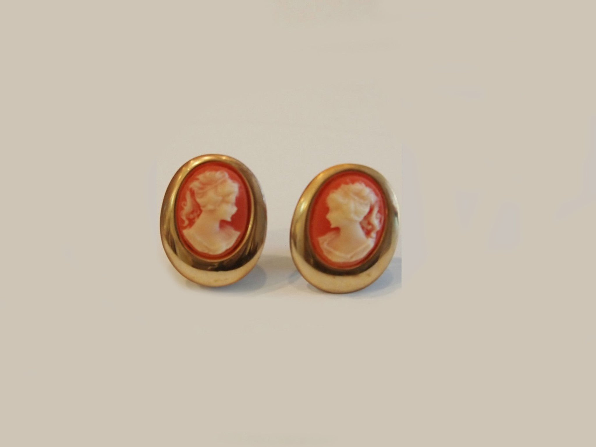 Cameo Appearance Orange Vintage Clipon Earrings