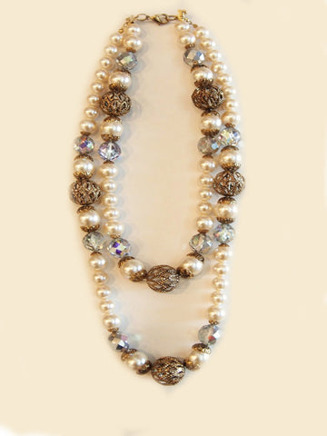 Pearly Whites Vintage Two-Tier Necklace