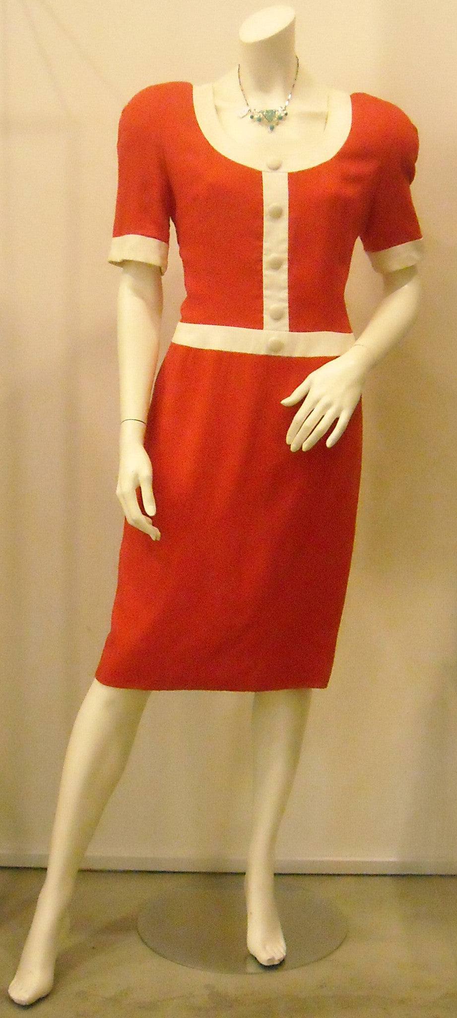 Vintage Carolina Herrera Red Dash Dress