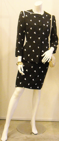 Vintage Carolina Hererra Triangle Print Slant Collar Jacket & Skirt Suit
