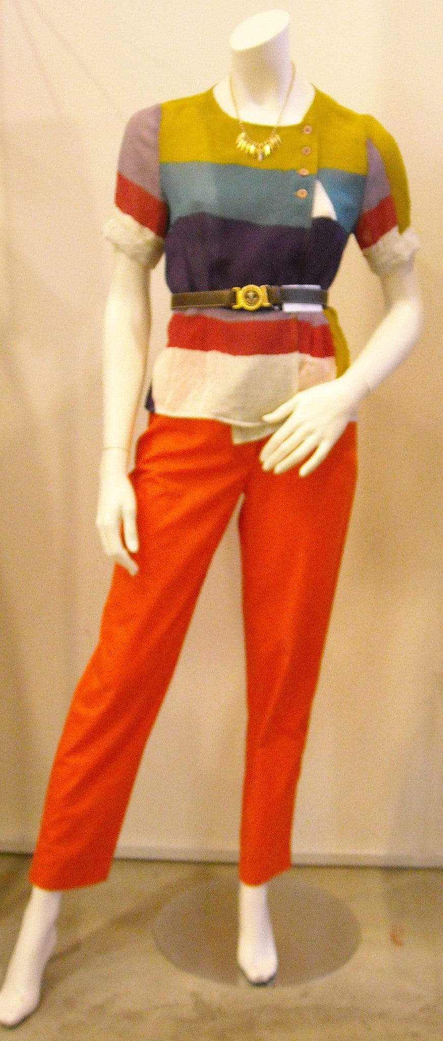 Vintage Courreges Bright Orange Pants with Visible White Stitching