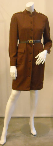 Vintage Oscar de la Renta Chocolate Nehru Collar Trench Dress