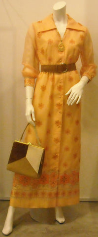 Vintage Shaheen Orange Print Caftan Maxi Dress